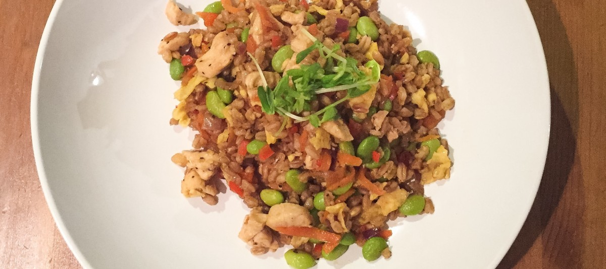 Chicken Fried Farro with Edamame