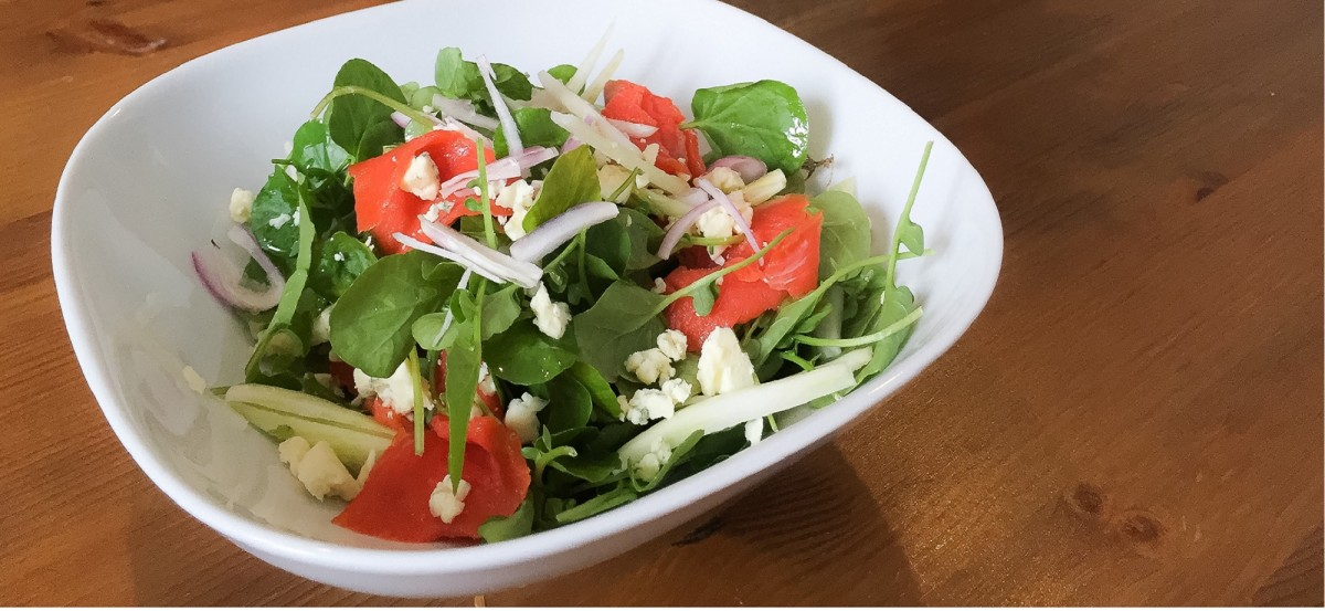 Smoked Salmon and Watercress Salad with Blue Cheese